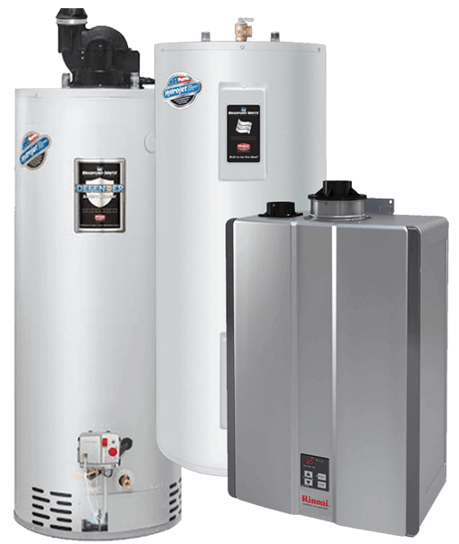 Gas, electric and tankless hot water heaters