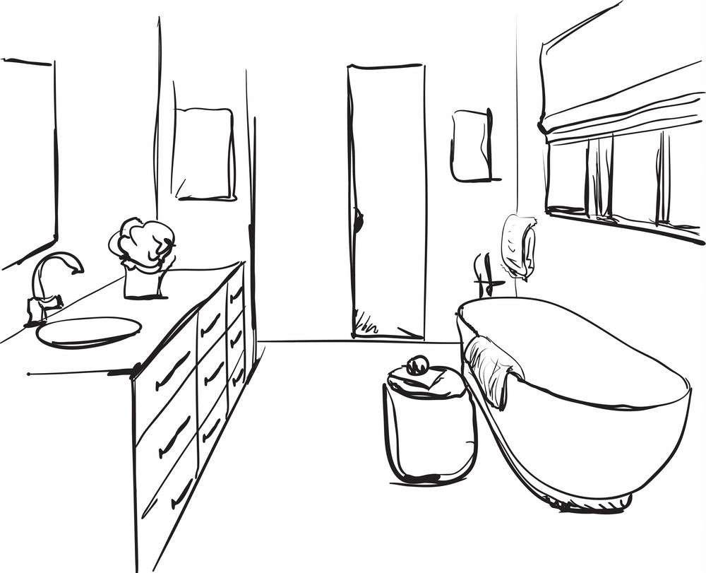 Bathroom design sketch